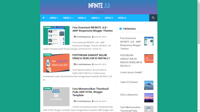 Infinite JLB AMP Free Blogger Template