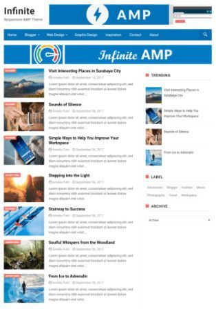 Infinity AMP (google-accelerated-mobile) Template