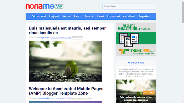 Noname AMP Responsive Free Blogger Template